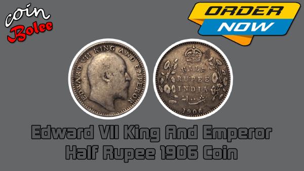 Edward VII King And Emperor Half Rupee 1906 India Silver Coin