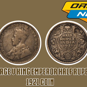 George V King Emperor Half Rupee India 1921 Silver Coin