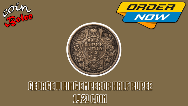 George V King Emperor Half Rupee India 1921 Silver Coin Back