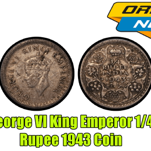 George VI King Emperor 1/4 Rupee India 1943 Silver Coin