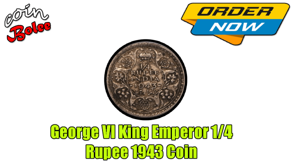 George VI King Emperor 1/4 Rupee India 1943 Silver Coin Back